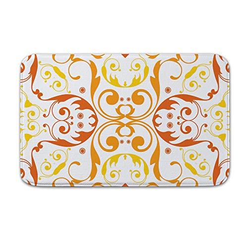 DKISEE Fußmatte für Innen- und Außenbereich, florales Muster, Orange, Flanell, 20