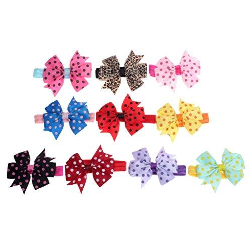 Xinan Cinta para la cabeza de la cinta elástica de Bowknot de la onda elástica de Babys Hairband 10PC