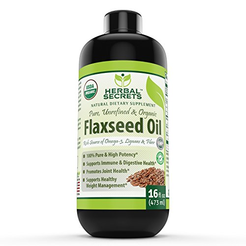 Herbals Secrets USDA Certified Organic Flaxseed Oil 16 Fl Oz- Promotes joint health * Supports healthy weight management *