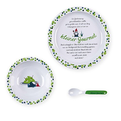 kjomizo - Geschichten-Geschirr weiß grünes Kinder Geschirrset mit Teller Schüssel Löffel aus Melamin mit einer lustigen Geschichte vom kleinem Gourmet Zwerg im Geschenkkarton