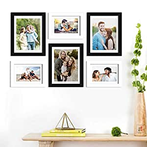 Art Street Wall Photo Picture Frame for Home Decor with Free Hanging Accessories (Size-6x8, 8x10 inches, Black and White), Set of 6