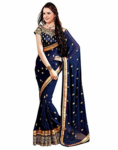 Zofey Women's Georgette Saree With Blouse(ElizaNavy-SareeS_Navy Blue_Free Size)
