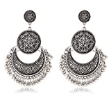#8: Crunchy Fashion Jewellery The Tribal Muse Collection Oxidised Silver Stylish Fancy Party Wear Dangle & Drop Earrings for Girls & Women