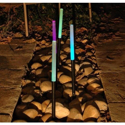 JUEGO DE 4PALILLOS LAMPARAS JARDIN RGB