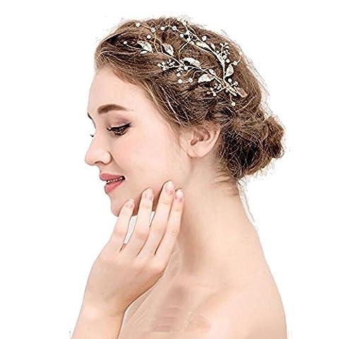 DUUMY Femmes 2017 Nouvelles Feuilles D'herbe d'or à la Main Diamant Mode de Bijoux de Mariée Simples Accessoires Cheveux Coiffure épingle Robe de Mariée , gold imitation pearl