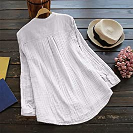 JiaMeng Top Abito Vestito da Donna in Cotone Lino Mezza Impunturato Patchwork 1/2 Maniche Sciolto Tasche Tunica Dress Camicia Stampa Magliette T-Shirt Manica Corta Lunga Tinta Unita