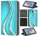 CoverFix Premium Hülle für Samsung Galaxy A5 (Modell 2017) A520 Flip Cover Schutzhülle Kunstleder Flip Case Motiv (708 Abstract Blau Silber Hoch)