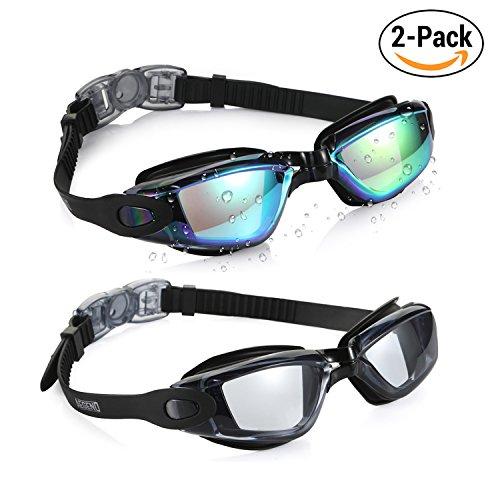 Aegend Pack of 2(Black Mirrored Lenses&Light Grey Lenses) Triathlon-Schwimmbrille, verspiegelt, dicht, Anti-Beschlag-Schutz, UV-Schutz, inklusive Schutzhülle, für Damen, Herren, Jugendliche, Kinder