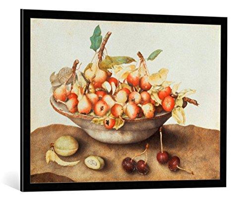 kunst für alle Bild mit Bilder-Rahmen: Giovanna Garzoni Schale mit kleinen Birnen Kirschen und Einer Mandel - dekorativer Kunstdruck, hochwertig gerahmt, 100x70 cm, Schwarz/Kante grau - Garzoni Schale