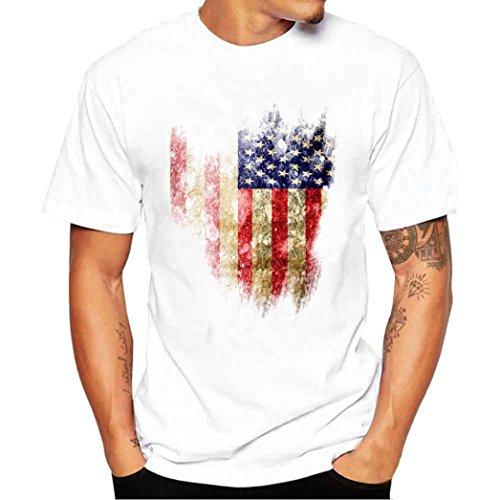 Amlaiworld Sommer-Flaggen-Druck-Kurzschluss-Hülsen-T-Shirt für Männer, fashinable und cooles T-Shirt, Weiß (XXXL, Weiß)