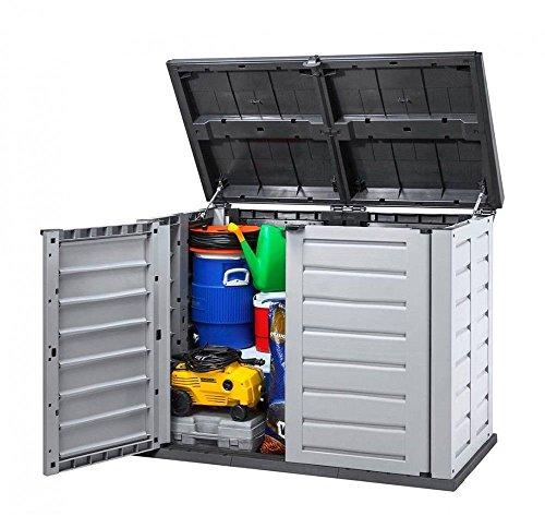 XXL Mülltonnenbox aus robustem Kunststoff. Deckelöffnung mit Gasdruckfeder. Abschließbar. Passend für 240 Liter Mülltonnen. Maße 155,8 x 90,4 x 116,6 cm. - 3