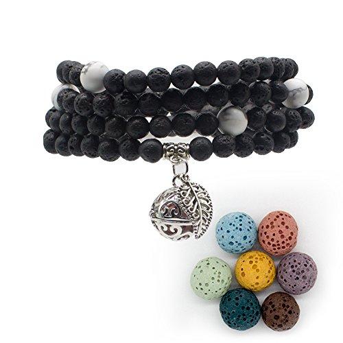 Bivei Armband / Halskette mit Lavasteinen, Duftöl-Diffusor, für die Meditation, tibetisch, buddhistisch, mit 108 Mala-Gebetsperlen und Medaillon