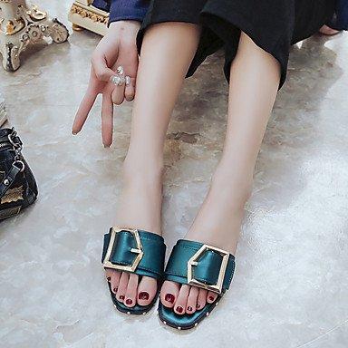 LQXZM La femme Chaussons & amp; tong sandales Printemps Été PU Confort Rivet décontracté Talon plat noir vert Télévision Green