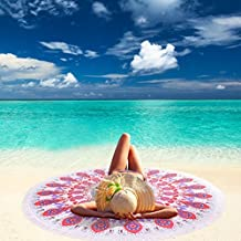 Linked Moda Toalla de Playa Redonda Impresa, Manta de Playa, Tapiz con Borla para