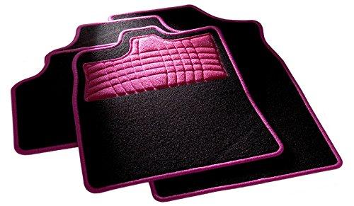 CarFashion 262162 Universal Auto Fussmatten Set mit Trittschutz und Kettelung in Pink, ohne Mattenhalter, Passend für Viele Autotypen