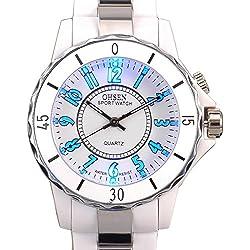 Ohsen White Color Womens Ladies Quartz Wrist Watch with 8 Color LED