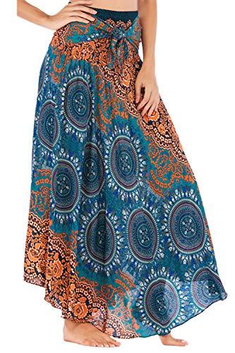 Las Mujeres De Gasa Falda Boho Maxi Verano Bohemia Falda Floral Wrap Green One Size