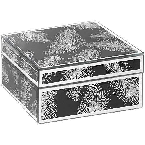 Leonardo schwarz und Silber Glitter Feder Schmuck Box -