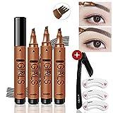 Tattoo-Kit für Augenbrauen-Tätowierung mit Augenbrauenrasierer und 3 Augenbrauen-Schablonen-Make-up-Set, Augenbrauenform-Kit Werkzeuge Langlebiger, wasserfester Wischfestigkeits-Nachweis (Dark brown)