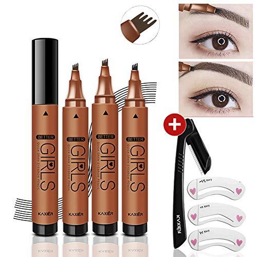 Tattoo-Kit für Augenbrauen-Tätowierung mit Augenbrauenrasierer und 3 Augenbrauen-Schablonen-Schminkset, Augenbrauenform-Kit Werkzeuge Langlebiger (Grau Braun)