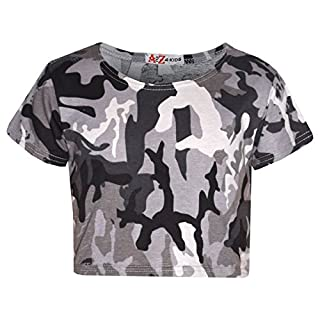 A2Z 4 Kids Girls Top Kids Camouflage Print Crop Top Legging Midi Dress New Age 7 8 9 10 11 12 13 Years