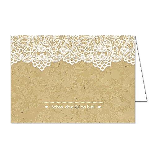 40 Tischkarten I dv_117 I DIN A7 I Platz-Karten Namens-Kärtchen Sitzplatz-Karten vintage Aufsteller quer zum Beschriften für Geburtstag Hochzeit Taufe (Platz-karten-vorlagen)