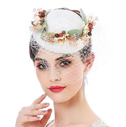 Frauen Fascinator Sinamay Hut Derby - AWAYTR Damen Tea Party Hochzeitskirche Kopfbedeckung (Kostüme Kentucky Halloween Derby)