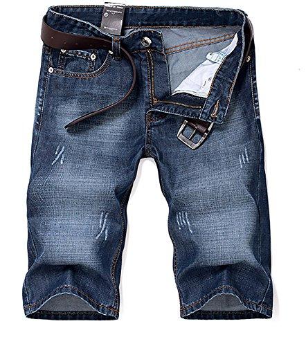 Pantalon court shorts jeans homme ajustable court mode solide Bleu
