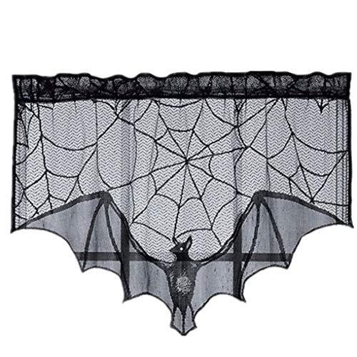 Halloween Spiderwebs - Morza Halloween-Schwarz-Spitze Spiderweb Kamin-Mantel-Schal-Abdeckung Spitze Spiderweb