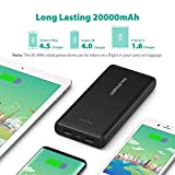 Power Bank RAVPower 20000mAh Battery Pack Portable Charger with Dual iSmart 2.0 USB Ports, 2.4A Input for iPhone XS/XS MAX/XR, Galaxy S9/S8 and More Mobile Phones - Black