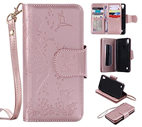 LG X Power Case Leather [Cash and 9 Card Slots], Cozy Hut Elegant Woman and cat Patterned Embossing PU Leather Stand Function Protective Cases Covers with Card Slot Holder Wallet Book Design Fordable Strap Case for LG X Power 5.3 Inch - Rose