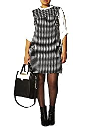 Dorothy Perkins DP Curve Plus Size Monochrome Dog Tooth Check Tunic Dress, Size 28