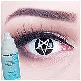 Farbige Kontaktlinsen Pentagram weiss schwarz mit Stern + 60ml Pflegemittel + Behälter - Funnylens Markenqualität, 1Paar (2 Stück) farbige lenses perfekt zu Halloween, Karneval, Fasching oder Fastnacht