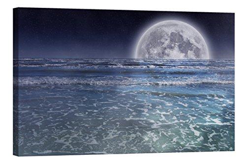 Cuadro en Lienzo Startoshop, fotoluminiscente lienzo,pinturas murales, Decoración, Luna en el océano, Categoría cosmos, 60 cm x 90 cm