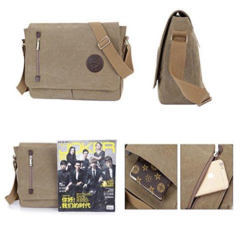 Super moderno unisex vintage a tracolla in tela, borsa a tracolla, messenger bag per lavoro Uni zaino da viaggio sport di borsa a tracolla, Uomo, Black Blue