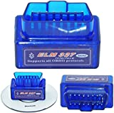 Supper Mini Bluetooth Car Code Reader Compatible with Android / Droid / Torque Support OBD2 OBD II ELM327 Power 2 - Blue