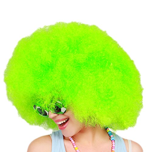 LUOEM Clown Perücke Afroperücke für Karneval Fasching Party Clown Kostüm (Grün)