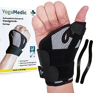YOGAMEDIC® Daumenbandage Daumenschiene rechts & links – Zufriedenheitsgarantie – Stabilisierende Schiene für Entlastung des Handgelenks bei Verletzungen und Sehnenscheidenentzündung