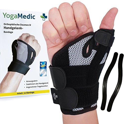 YOGAMEDIC Daumenbandage Daumenschiene rechts & links - Zufriedenheitsgarantie - Stabilisierende Schiene für Entlastung des Handgelenks bei Verletzungen und Sehnenscheidenentzündung