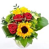Blumenversand - Blumenstrauß Sommerfreude - zum Geburtstag - mit Sonnenblumen - auf Wunsch mit Gratis - Grußkarte versenden