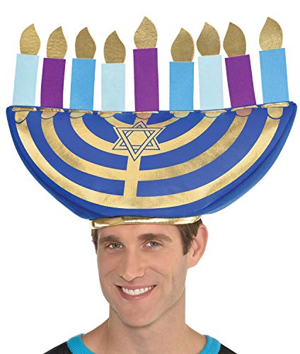 Adults Ladies Mens Oversized Jewish Menorah Hat Hanukkah Celebration Festival Fancy Dress Costume Outfit Accessory
