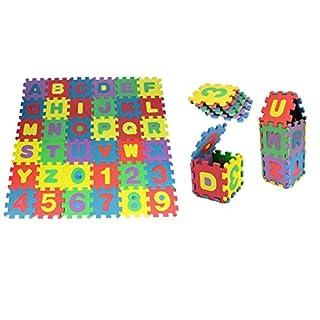 AQS INTERNATIONAL 36 Pcs Kids Alphabet & Numeric Multi Colour Interlocking Eva Mats Soft Foam Flooring Soft Mat Excursive Play Puzzle Educational