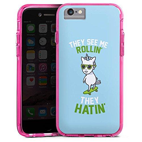 Apple iPhone X Bumper Hülle Bumper Case Glitzer Hülle Einhorn Unicorn Statement Bumper Case transparent pink