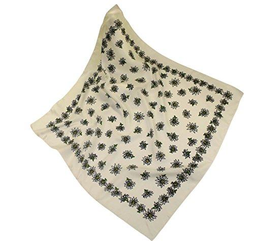 Teichmann Weißes Nickituch im Edelweißdesign | Bandana aus weichem Polyester Satin aus Italien | 60 x 60cm | Halstuch