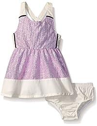 Kensie Baby Dress with Metallic Crinkle Foil Dot Fabric