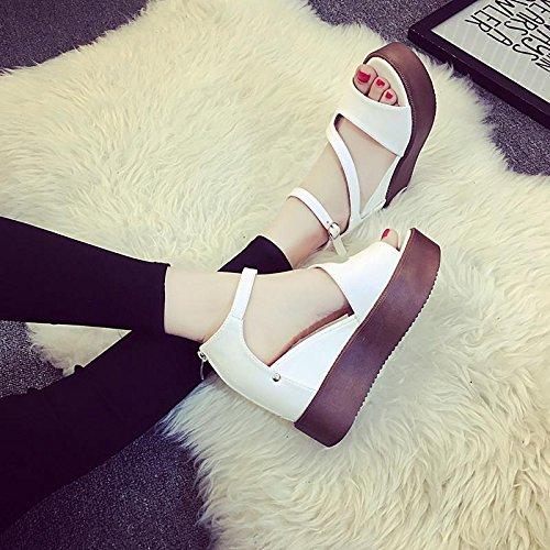 LvYuan Sandali estivi delle donne / Comfort Casual Fashion / Peep-toe Hollow / fondo spessa / cuneo talloni / flatform scarpe Bianca