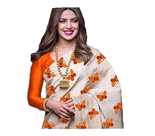 Macube New Latest Designe of 2018 Orange and Off-white color Pure chanderi...