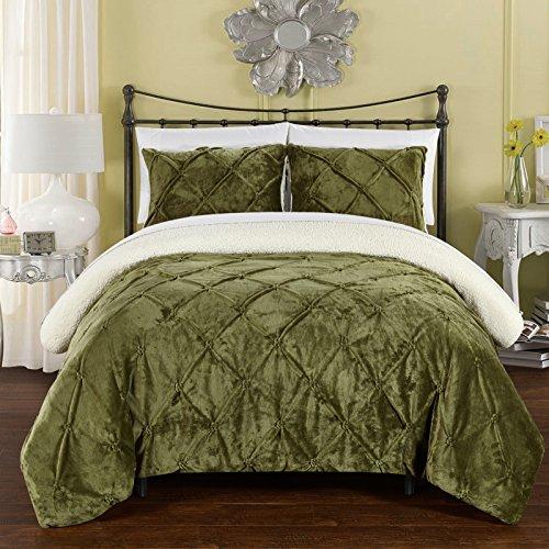Chic Home cs5125-an 3Josepha teilig Josepha Pinch Plissee Rüschen & Pin Tuck Sherpa Gefüttert Queen Bett in einem Beutel Tröster Set, grün, Queen (Queen-bett In Einem Beutel)