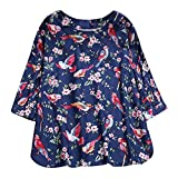 Mymyguoe Frauen Casual Tuniken Blusen Print Pullover Langarm Rundhals Top Shirt Bluse Langarmshirts Strickpullover Tops T-Shirt