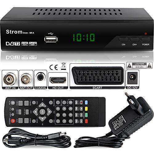 hd-line Strom 505 A DVB-T2 Receiver - HEVC/H.265 - H.264 / MPEG2 - MPEG4 / 1080i - 1080p Standard (Full HD 1080P, HDMI, SCART, USB 2.0) - Automatische İnstallation Schwarz